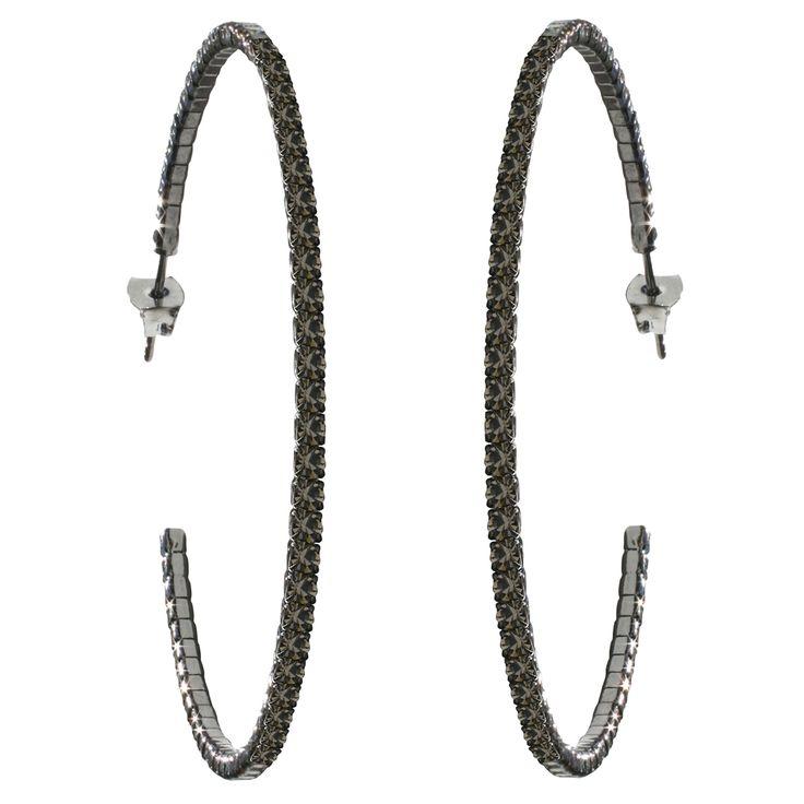 50mm Crystal Hoop Earrings – Black Diamond