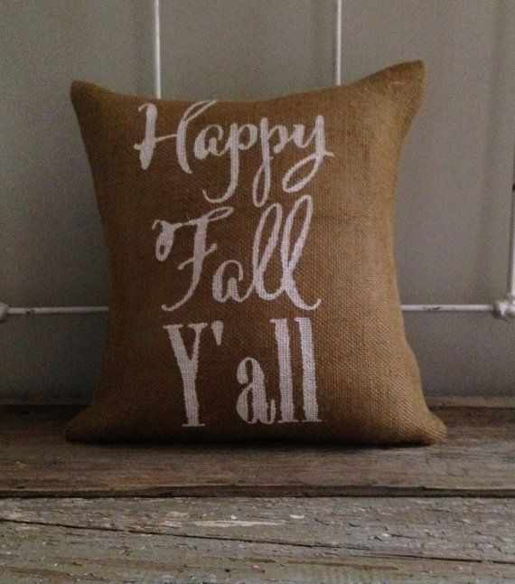 Burlap Pillow- Happy Fall Y'all, fall/Halloween/Thanksgiving decor, Fall pillow on Etsy, $29.00