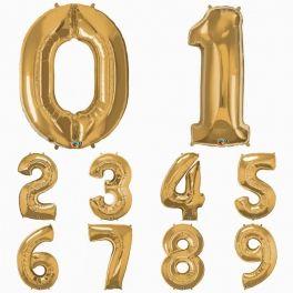 1 Globo número gigante dorado - Pluie de Confettis