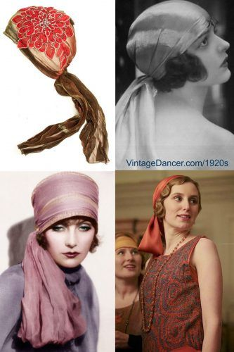 1920s head wraps with scarves. Upper right is a beautiful applique head scarf  at Bohomonde (and comes in more colors)