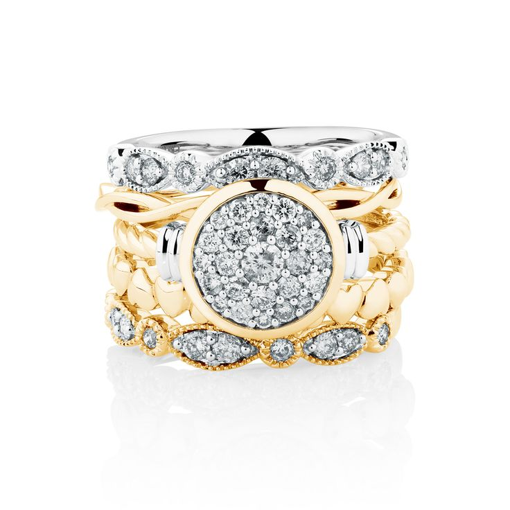 Diamond set & 10ct gold stack rings. Exclusive to #emmaandroe. Available late November.
