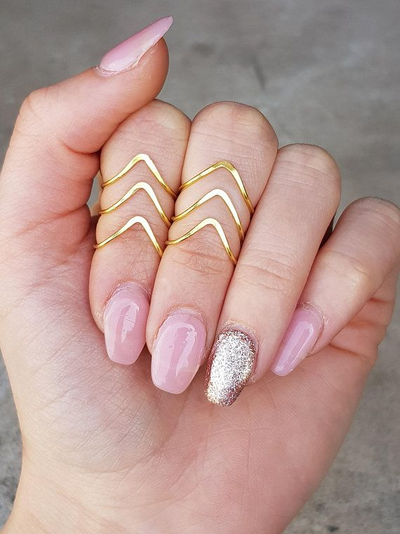 """Dainty Hammered Chevron Knuckle Ring, Above The Knuckle Ring, Thin Chevron """"V"""" Ring, Midi Knuckle Ring, Silver Gold Rose Gold Knuckle Ring"""