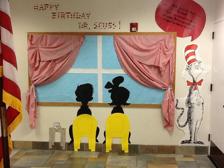 This eye catching Dr. Seuss hallway display would capture everyone's attention.  A great idea to highlight Dr. Seuss' book and his birthday.