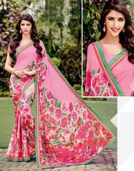 Pink Color Georgette Kitty Party Sarees : Leena Collection  YF-42447