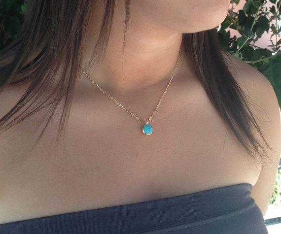 Turquoise  Necklace, December Turquoise Birthstone, Minimalist Gemstones  Necklace Delicate 24k Gold Necklace, Bezel Set  $55
