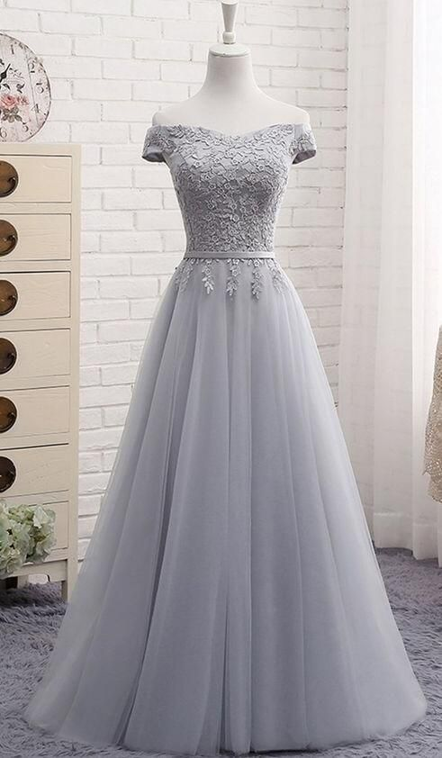 Tulle Prom Dress,Lace Prom Dress,Gray tulle Prom D…