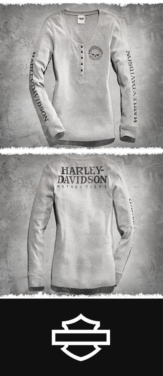 Casual comfort meets downtown style.   Harley-Davidson Women's Skull Long-Sleeve Henley