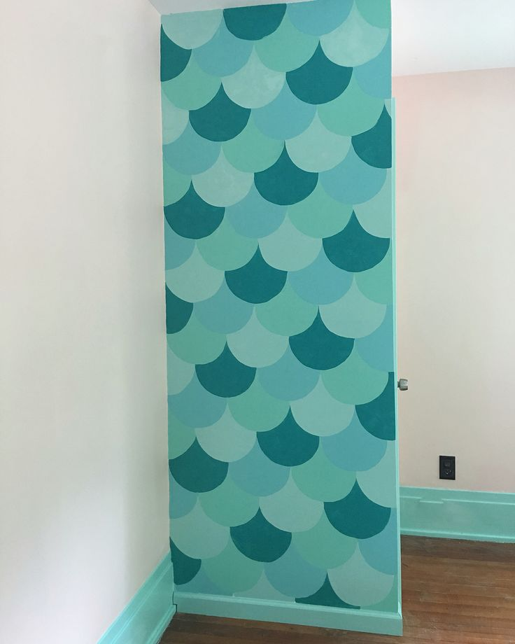 Mermaid scales accent wall. Toddler girl room accent wall
