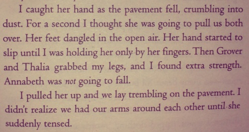 Anybody remember this in the Last Olympian? Annabeth was inured, Percy tried to save her, and they didn't fall to their deaths...