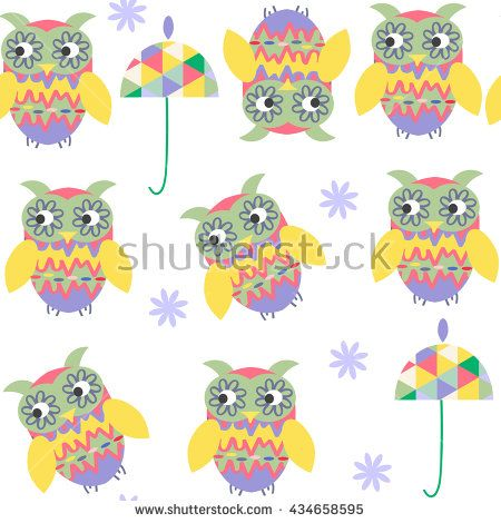 Funny owls seamless pattern and seamless pattern in swatch menu, vector illustration. Cute texture or background for design  - stock vector