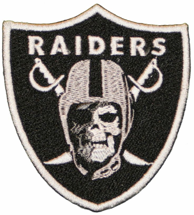 """Oakland Raiders Skull Face Iron On Patch 3"""" X 3 1/8"""" Silver"""
