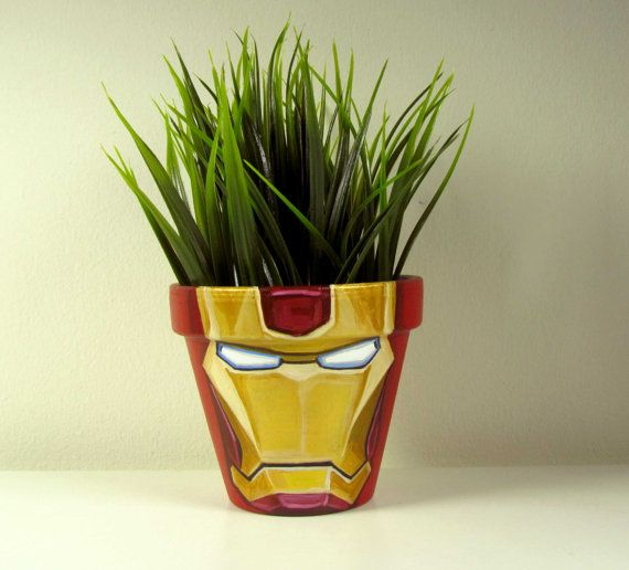 Hand Painted Flower Pots Iron Man flower pot by LetitiasArt