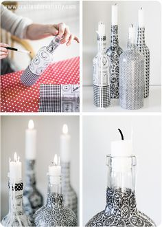 Diy Upcycled Glass Bottles could use napkins and Mod Podge to create these decoupaged bottles
