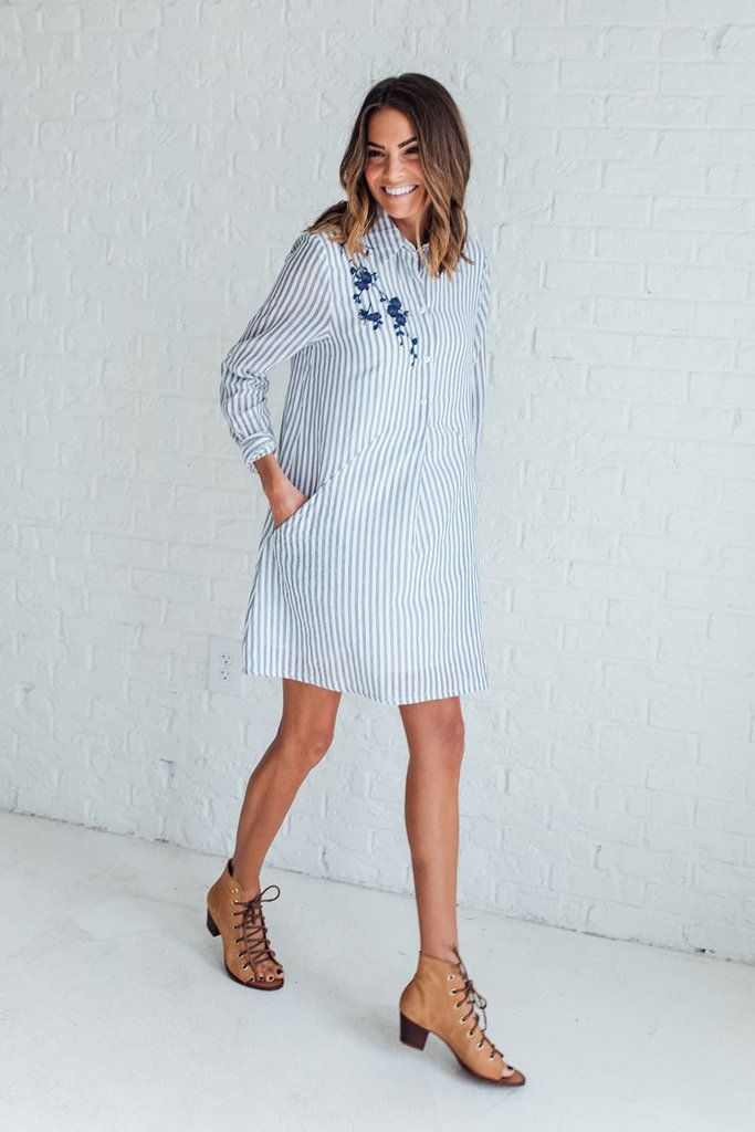 DETAILS: Stripe a-line button down shirt dress featuring embroidery detail on shoulder Pocket details Fully lined Non-sheer Lightweight 100%COTTON Model...