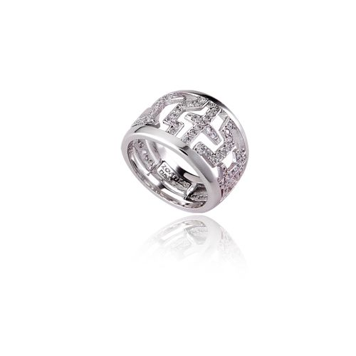 Entasis ring in 18ΚΤ white gold with diamonds
