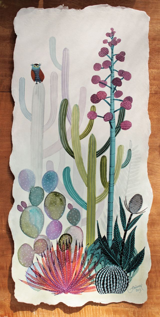 Beautiful cacti & succulent painting.