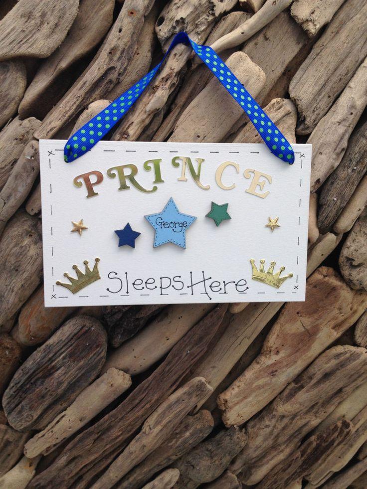 Childrens PRINCE  Bedroom Door Name Personalised Plaque Ideal Present Gift