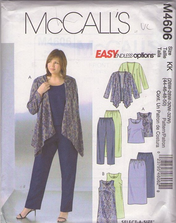 MOMSPatterns Vintage Sewing Patterns - McCall's 4606 Discontinued 2004 Sewing Pattern Plus Size Easy Endless Options Draped Front Jacket, Tank Top, Pants, Dress & Skirt
