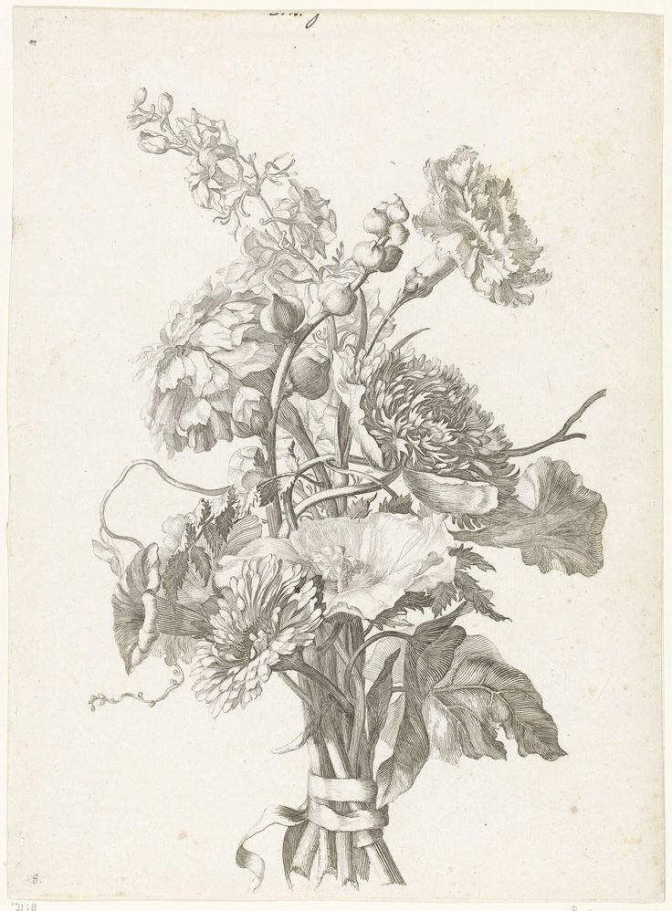Jacques Bailly (I) | Boeket van verschillende bloemen, Jacques Bailly (I), c. 1670 | Het boeket bestaat uit rozen, anemonen, een anjer, akkerwinde, chrysanthemums, riddersporen en kaasjeskruid in knop.
