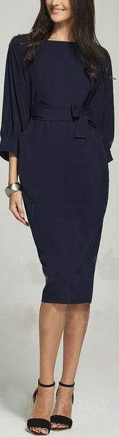 Navy Blue Puff Sleeve Belt Knee-Length Chiffon Pencil Dress #dresses #fashion #style #mididress #navyblue #Chiffon #pencildress #dress #puffsleeve