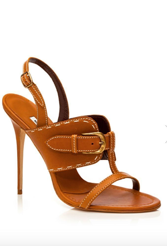 Manolo Blahnik ~ Leather Sandal Heel, Cognac #manoloblahniksandals #sandalsheelscasual #manoloblahnikheels2017