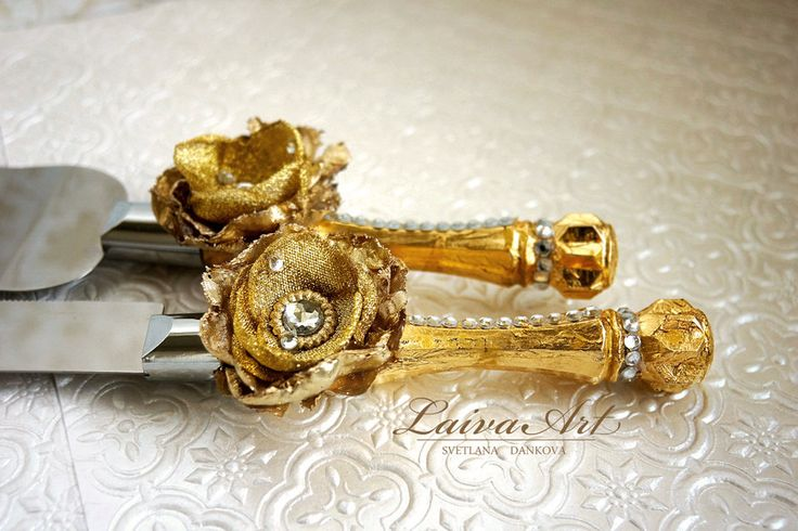 Gold / Wedding / Cake Server Set & Knife / Wedding Cake Knife / Rustic / Outdoor / Cottage / Shabby Chic / Wedding  - pinned by pin4etsy.com