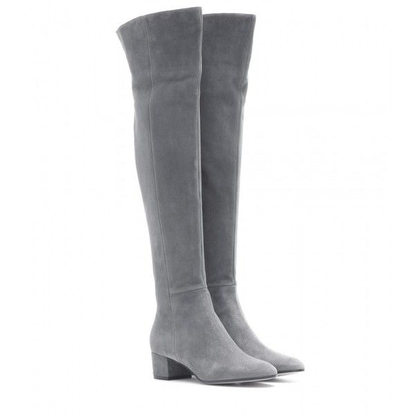 Gianvito Rossi Rolling Over-the-Knee Boots ($1,220) ❤ liked on Polyvore featuring shoes, boots, saappaat, grey, gray boots, gray thigh high boots, over knee boots, grey boots and thigh high boots