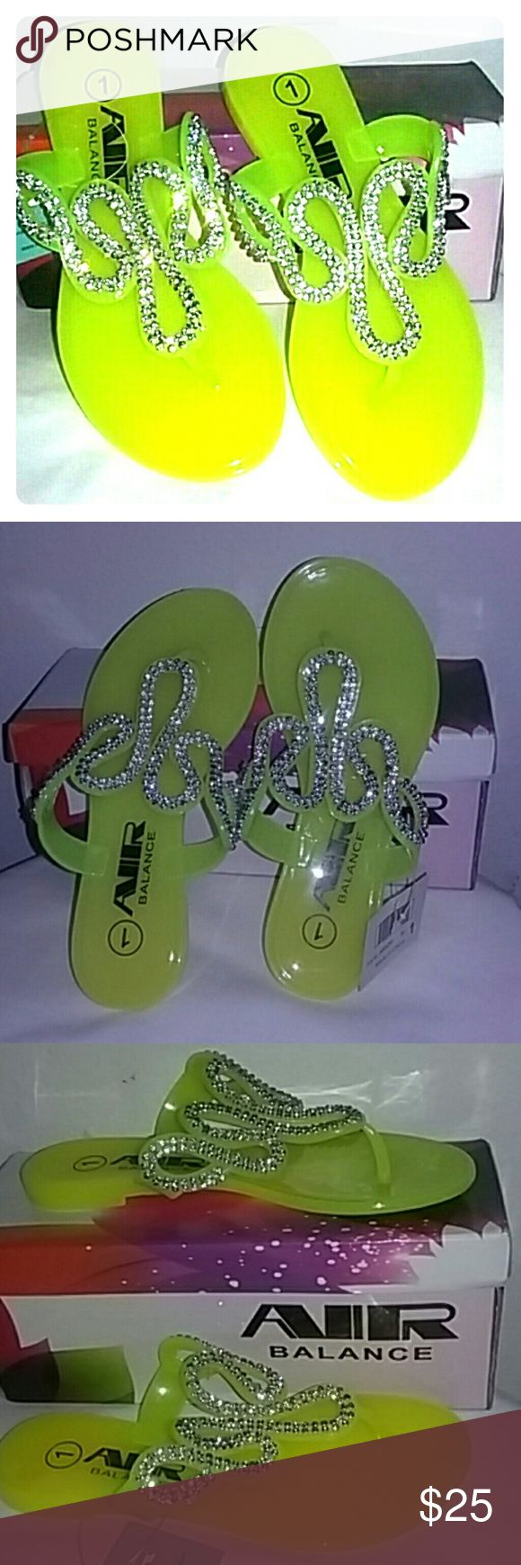 GIRLS SLIPPERS Neon yellow slippers with rhinestone designed on the top. AIR BALANCE Shoes Slippers
