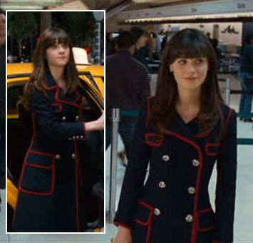 Zooey Deschanel's Navy coat with red trim on Yes Man.  Outfit details: http://wwzdw.com/z/2361/