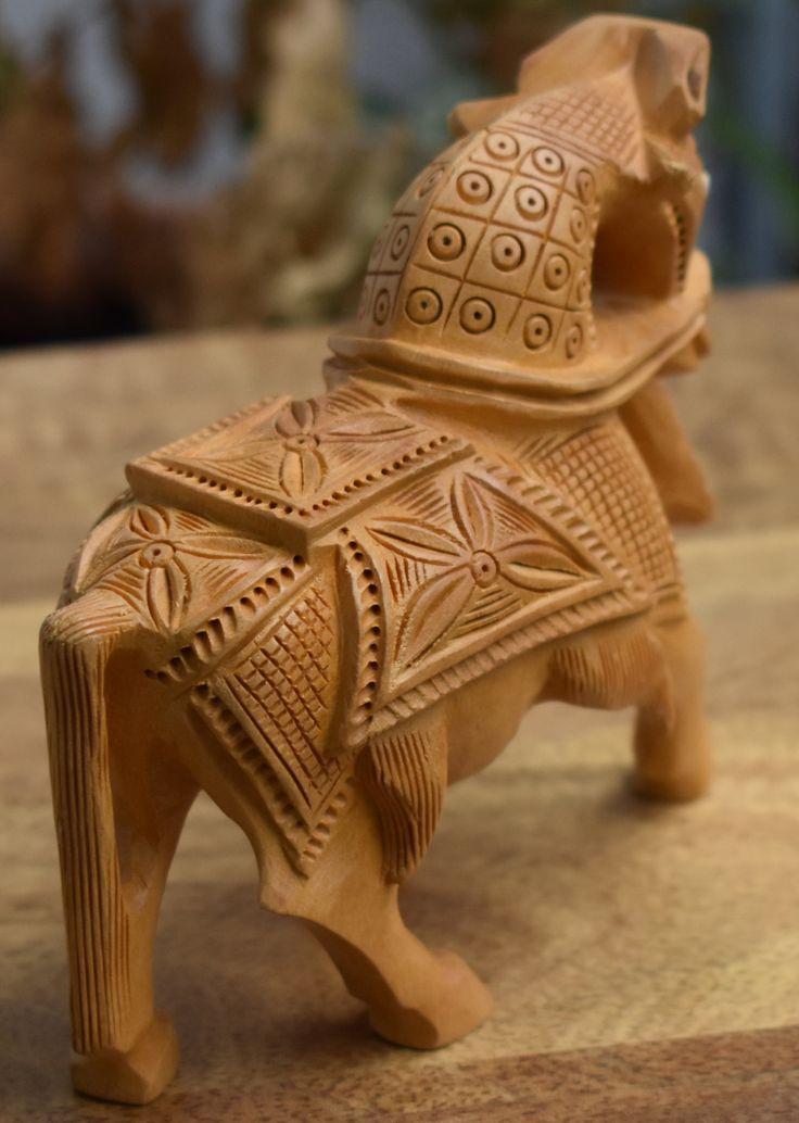 Handgefertigte Pferdestatue aus massivem Holz, Kunsthandwerk, indisches Kunsthan…