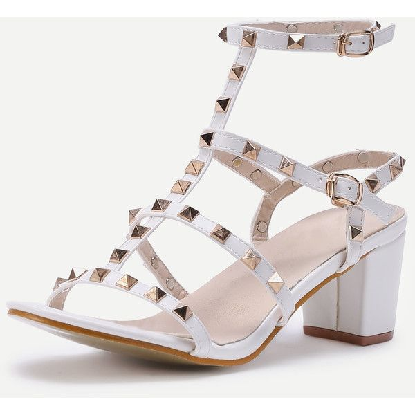 SheIn(sheinside) Rockstud Embellished Block Heeled Sandals ($33) ❤ liked on Polyvore featuring shoes, sandals, white gladiator sandals, mid-heel sandals, block heel sandals, white embellished sandals and white chunky sandals