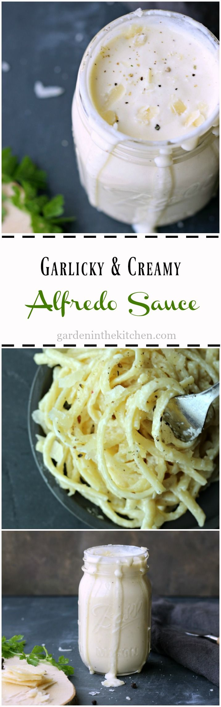 Garlicky creamy homemade Alfredo Sauce, a perfect finish to your pasta dish! gardeninthekitchen.com