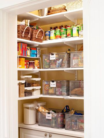 Great idea: separate bins for each weekday meal (including non-perishable items and a copy of the recipe)