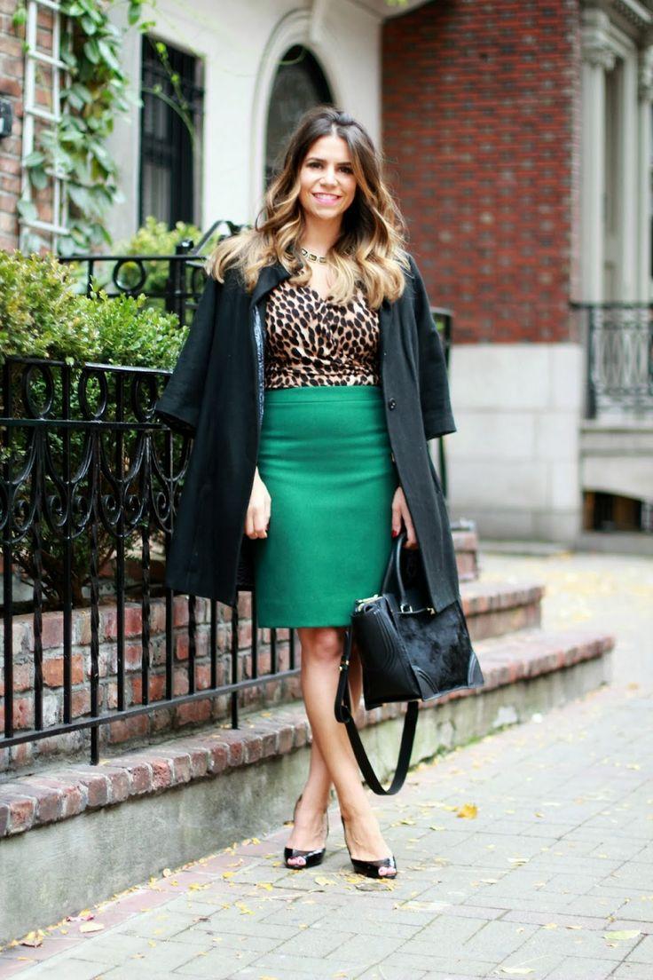 green pencil skirt; leopard top; leopard dress; elei tahari; macys; black heels; nyc fashion blogger; fashion blogger; outfit post; leopard ...