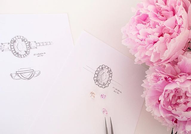 Oval pink sapphire engagement ring designs, inspired by the glorious peony season gone by.