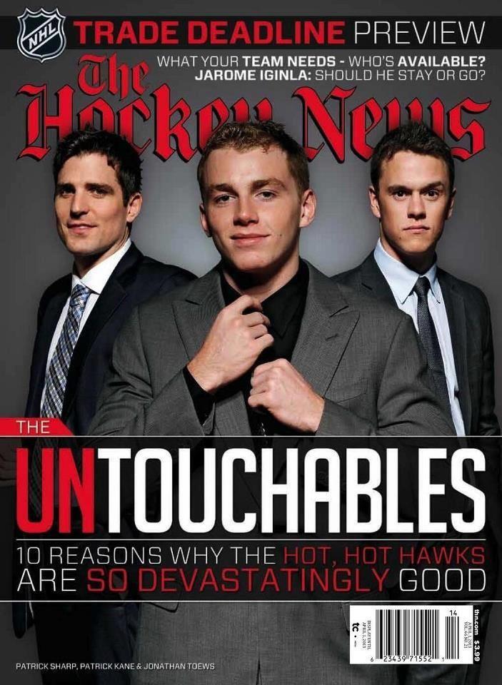 Chicago Blackhawks Center of Attention The Hockey News Patrick Sharp, Patrick Kane, Jonathan Toews