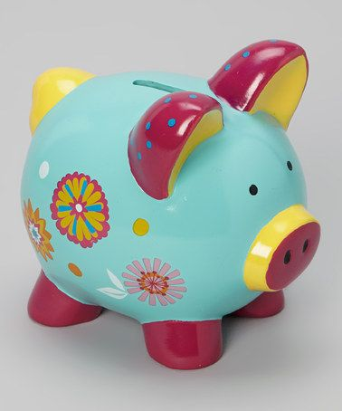 Take a look at this Blue Pinwheel Flower Piggy Bank by GANZ on #zulily today!