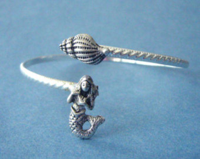 Silver Mermaid cuff bracelet with a seashell wrap style