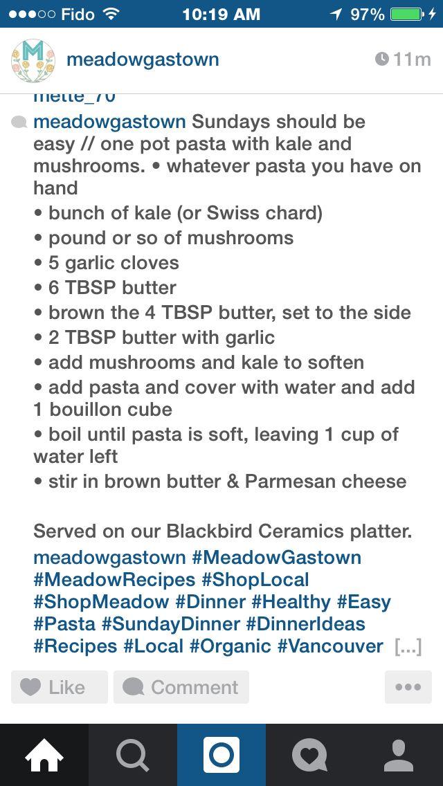 Pasta w/ kale & mushrooms