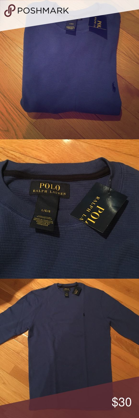 Blue Men's Long Sleeve Polo Thermal Blue Men's Long Sleeve Polo Thermal never worn with tags still on Polo by Ralph Lauren Shirts Polos