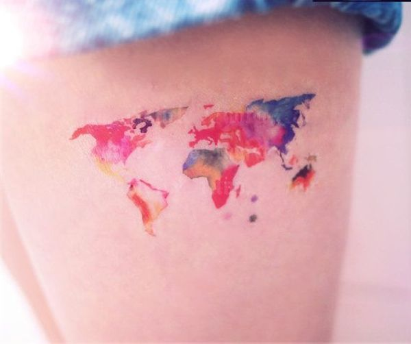 Colored world map - Love the effect and colors! #TattooModels #tattoo
