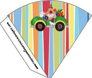 Cajitas de payasos para imprimir gratis.: Cumpleaños Circo, Carnival Clipart, Printables, Treat Cone, Imprimir Free, Circus