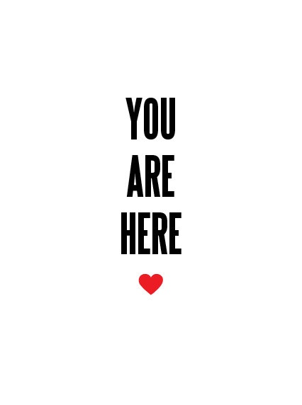 Love art print poster  You are here heart  by RedLetterPaperCo, $15.00