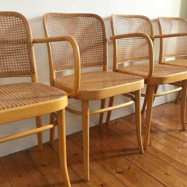 Vintage Bentwood Rattan Chairs Drevounia Hoffmann 811 Thonet Style