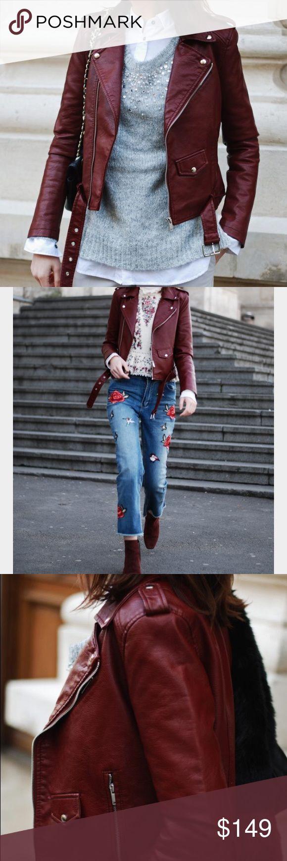 Zara Burgundy Leather Biker Jacket Chic Zara leather