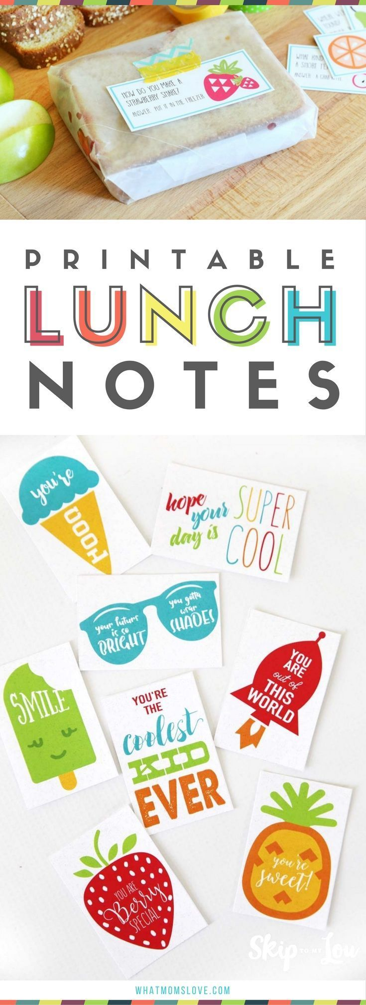 Printable Lunch Notes for kids school lunch box   Funny jokes and sweet encouragement for girls