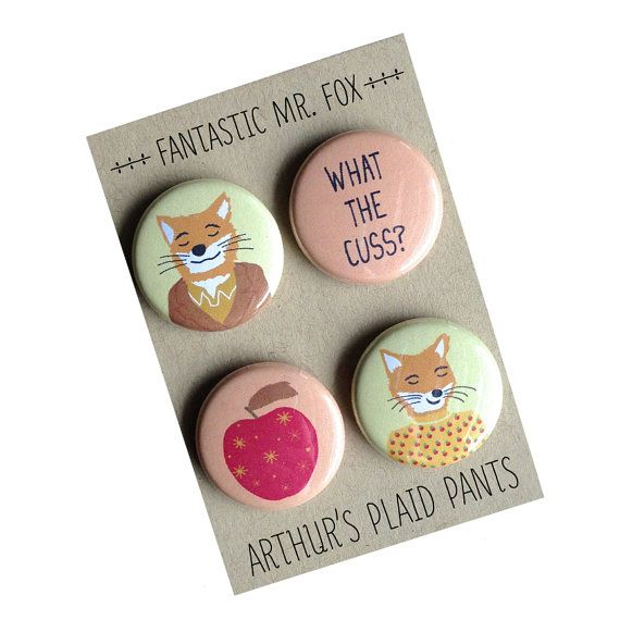 Fantastic Mr. Fox, Fantastic Mr. Fox magnet set, Wes Anderson, Wes Anderson badges on Etsy, $8.00