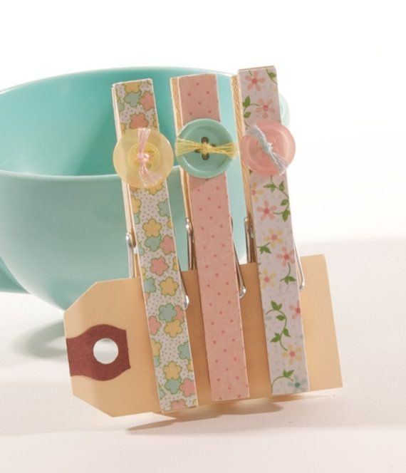 Decorative Magnetic Clothespin Set  Soft Spring by ATouchOfInk, $5.00