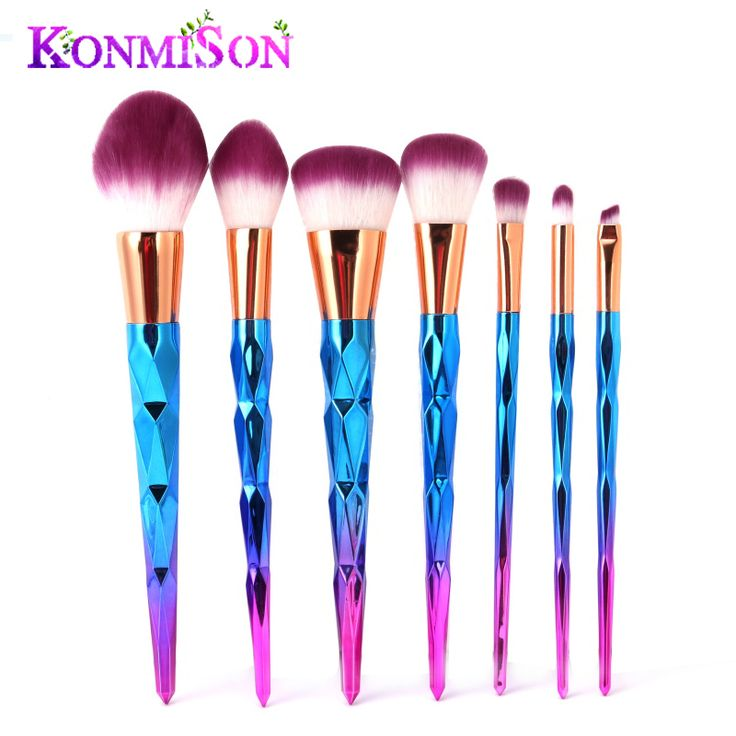 KONMISON Rainbow Hair Diamond Cosmetic Makeup Brushes Set Foundation Eye shadow Blusher Powder Unicorn Blending Make up Brush //Price: $13.96 & FREE Shipping //     #hairextension #style #beauty #woman #love