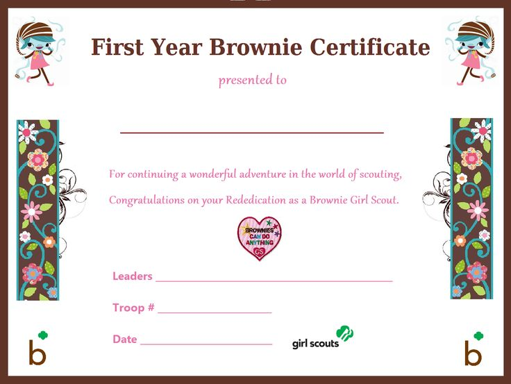 I made this First Year Brownie Certificate for our ...